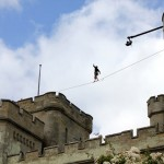 red or black maverick castle slackline stunt 03