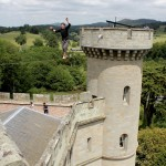 red or black maverick castle slackline stunt 04