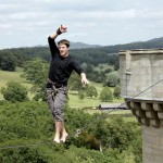 red or black maverick castle slackline stunt 05