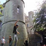 red or black maverick castle slackline stunt 15