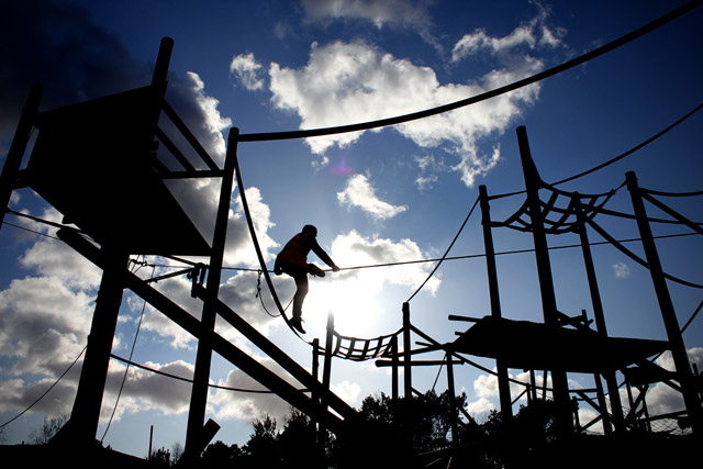 Maverick Slacklines Take Over the Chimp Enclosure at Monkey World